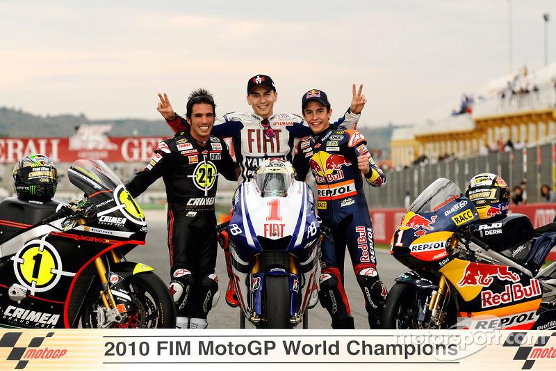 Campeón de Moto2, Toni Elias, Campeón de MotoGP Jorge Lorenzo y campeón de 125cc Marc Márquez
