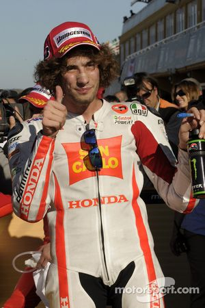 Derde plaats Marco Simoncelli, San Carlo Honda Gresini
