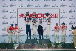 LMP1 podium: class and overall winners Stéphane Sarrazin and Franck Montagny, second place Tom Krist