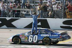 Race winner Carl Edwards celebrates