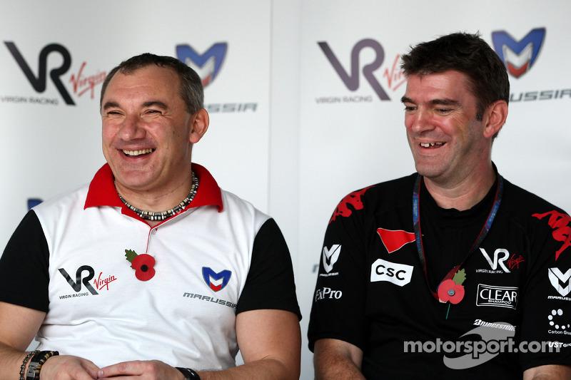 Graeme Lowdon Chief Executive of Virgin en Racing Nikolay Fomenko Marussia Motors President, perscon