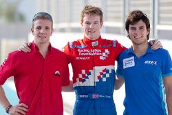 Olivier Turvey célèbre sa pole position avec Dani Clos et Sergio Pérez