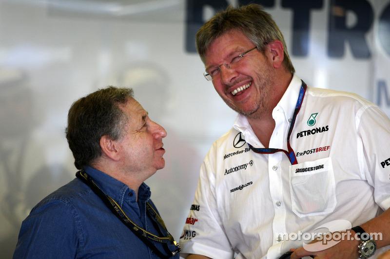 Jean Todt, Presidente de la FIA y el jefe de equipo Ross Brawn, Mercedes GP