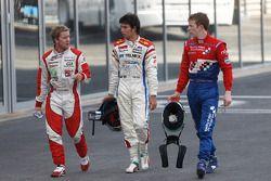 Sergio Perez, Oliver Turvey en Sam Bird