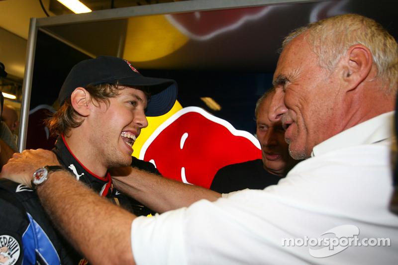 Sebastian Vettel, Red Bull Racing ve Dietrich Mateschitz, Owner, Red Bull CEO