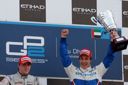 Davide Valsecchi celebrates his victory on the podium with Luiz Razia
