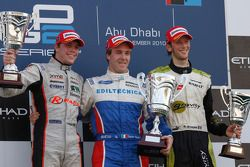 Davide Valsecchi celebrates his victory on the podium with Luiz Razia and Davide Valsecchi