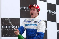 Davide Valsecchi celebrates his victory on the podium