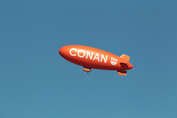 Blimp advertising the Conan O'Brien TV show on TBS network