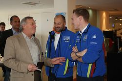 Jimmy McRae enjoys a chat with Finland's Jari-Matti Latvala and Christian Loriaux at the 'Farewell t