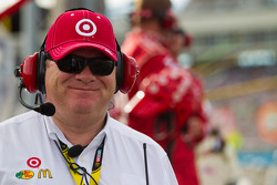 Chip Ganassi watches the race