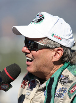 John Force moments after defeating former team mate Gary Densham in Round 1 of the Auto Club NHRA Fi
