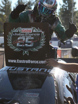 John Force emerging from his Castrol Ford Mustang after winning his 15th world championship