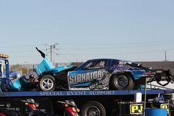 Remains of Steve Kent's 1963 Corvette after landing on his roof during competition during the Auto Club NHRA Finals