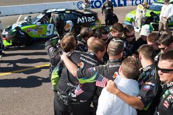 Roush Fenway Racing Ford team members confer