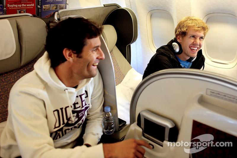 Mark Webber y Sebastian Vettel en su vuelo a las oficinas de Red Bull