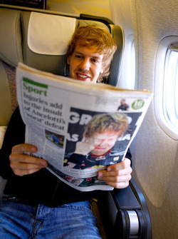 Sebastian Vettel on the flight to Red Bull headquarters