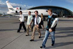 Mark Webber, Adrian Newey, Christian Horner et Sebastian Vettel