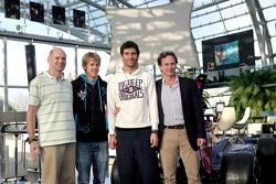 Chief technical officer Adrian Newey, Sebastian Vettel, Mark Webber and team principal Christian Horner
