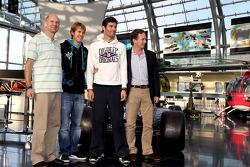 Chief technical officer Adrian Newey, Sebastian Vettel, Mark Webber and team principal Christian Hor
