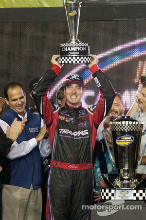 Championship victory lane: 2010 NASCAR Camping World Truck Series champion owner Kyle Busch celebrates
