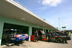 Garage area for Jimmie Johnson, Hendrick Motorsports Chevrolet and Denny Hamlin, Joe Gibbs Racing Toyota