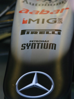 Pirelli on the nose cone of the Mercedes