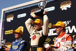 Podium: Mark Winterbottom second for Ford Performance Racing, James Courtney first for Jim Beam Rac