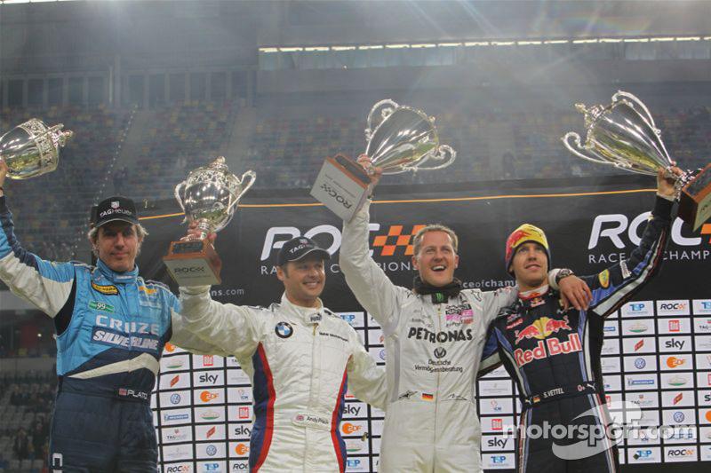 Podium: Nations Cup winnaars Michael Schumacher en Sebastian Vettel voor Team Duitsland, 2de Andy Pr