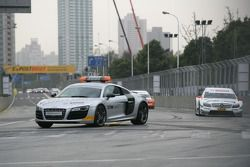 Race start behind the safety car