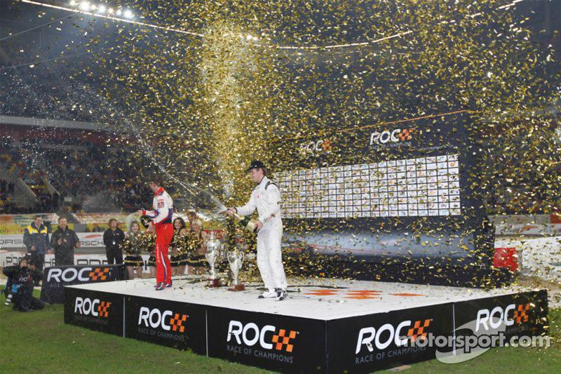 Podium: Race of Champions winnaar Filipe Albuquerque, 2de Sébastien Loeb