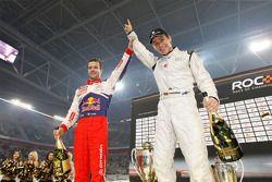 Podium : Filipe Albuquerque, vainqueur de la Course des Champions, et Sébastien Loeb, deuxième