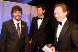 FIA Formula One World Championship: Fernando Alonso, Ferrari, Mark Webber, Red Bull et Christian Horner, directeur d'équipe Red Bull