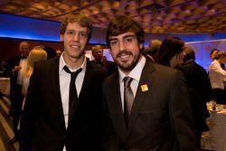 Le champion du monde de Formule 1 Sebastian Vettel, Red Bull et Fernando Alonso, Ferrari