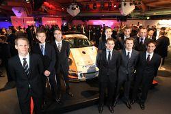 Porsche fabrieksrijders Jörg Bergmeister, Patrick Long, Timo Bernhard, Romain Dumas, Richard Lietz,