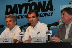 Greg Stucker, Goodyear Director of Racing, Joie Chitwood III, Daytona International Speedway President and Robin Pemberton, NASCAR Vice President of Competition answer media questions