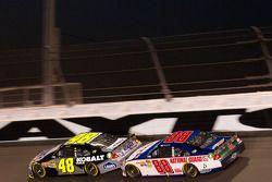 Jimmie Johnson, Hendrick Motorsports Chevrolet and Dale Earnhardt Jr., Hendrick Motorsports Chevrole