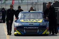 Car of A.J. Allmendinger, Richard Petty Motorsports Ford pushed to technical inspection