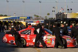 Car of Juan Pablo Montoya, Earnhardt Ganassi Racing Chevrolet pushed back in the garage