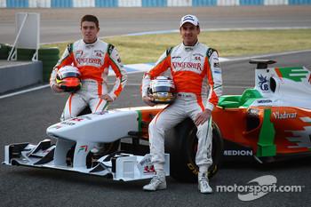 Force India drivers Paul di Resta and Adrian Sutil