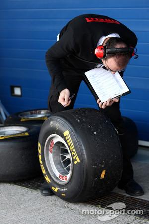 A pirelli tyre engineer