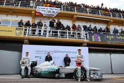 Michael Schumacher, Mercedes GP F1 Team, Norbert Haug, Mercedes, directeur Motorsport, Ross Brawn, d