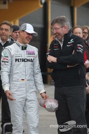 Michael Schumacher, Mercedes GP F1 Team with Ross Brawn Team Principal, Mercedes GP