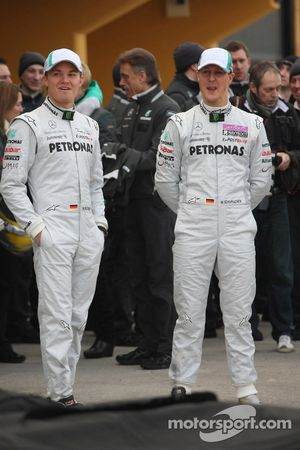 Nico Rosberg, Mercedes GP F1 Team and Michael Schumacher, Mercedes GP F1 Team