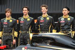 Jan Charouz, test driver, Lotus Renault GP, Bruno Senna, test driver, Lotus Renault and Romain Grosjean, test driver, Lotus Renault GP and Ho Pin Tung, test driver, Lotus Renault GP