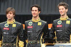 Jan Charouz, test driver, Lotus Renault GP, Bruno Senna, test driver, Lotus Renault and Romain Grosjean, Lotus Renault GP