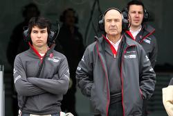 Sergio Perez, Sauber F1 Team and Peter Sauber, Sauber F1 Team, Team Principal
