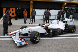 The first run of the C30 with Kamui Kobayashi, Sauber F1 Team