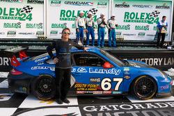 GT victory lane: team owner Kevin Buckler celebrates