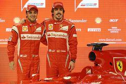 Fernando Alonso, Felipe Massa en la presentación del Ferrari F150